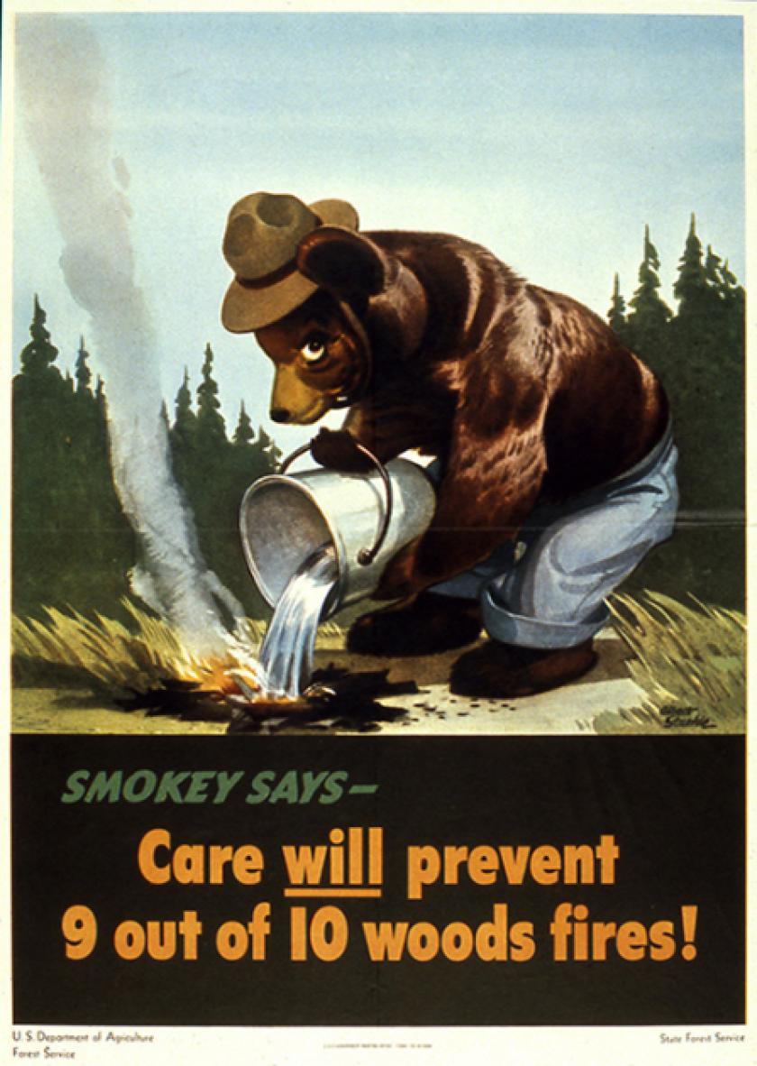 Smokey's first PSA in 1944.